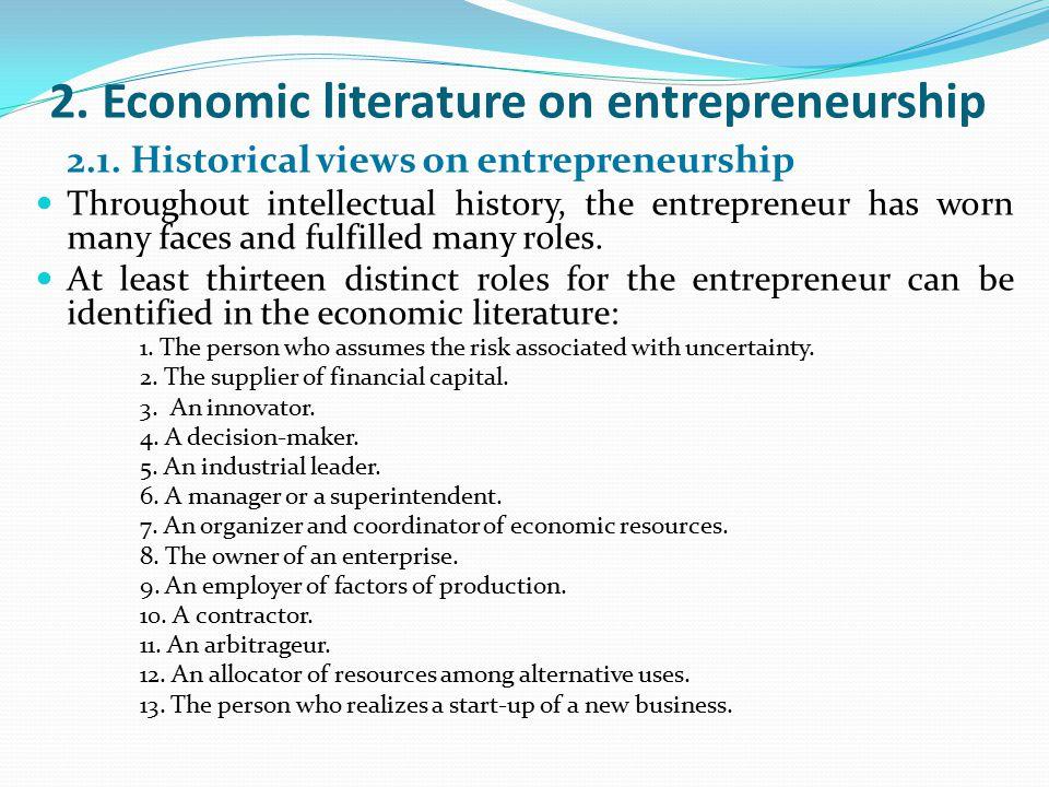 2. Economic literature on entrepreneurship