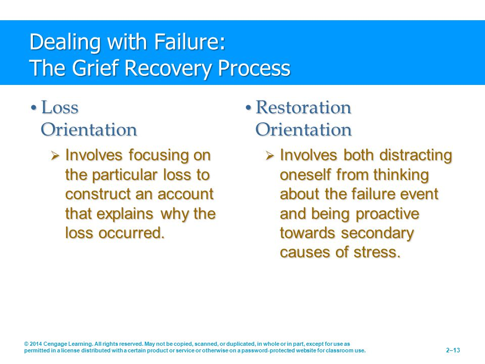 Dealing with Failure: The Grief Recovery Process