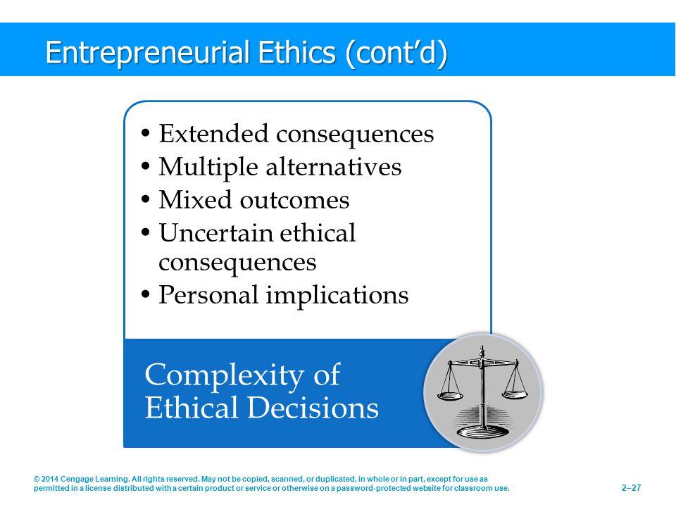Entrepreneurial Ethics (cont'd)