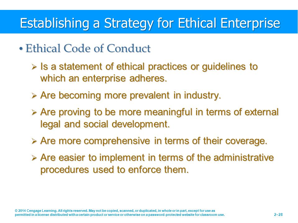 Establishing a Strategy for Ethical Enterprise