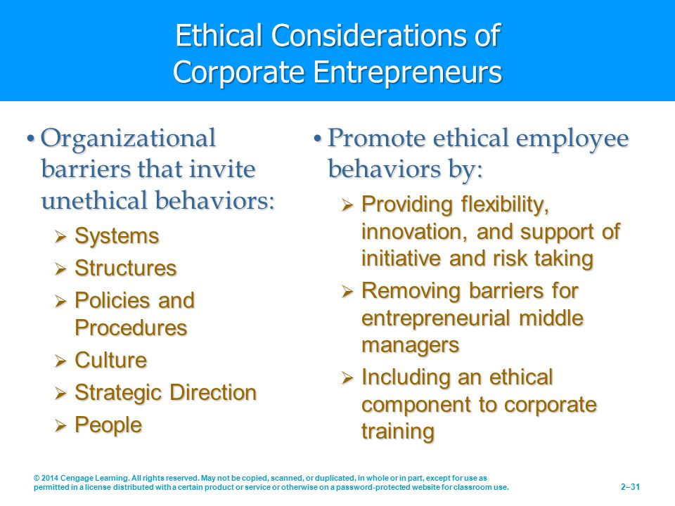 Ethical Considerations of Corporate Entrepreneurs