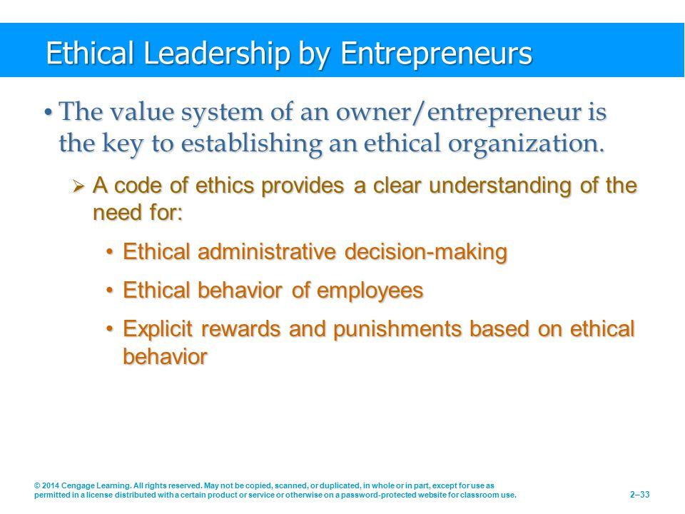 Ethical Leadership by Entrepreneurs