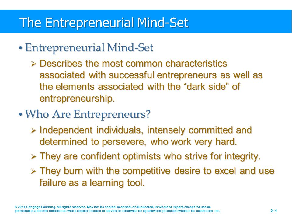 The Entrepreneurial Mind-Set