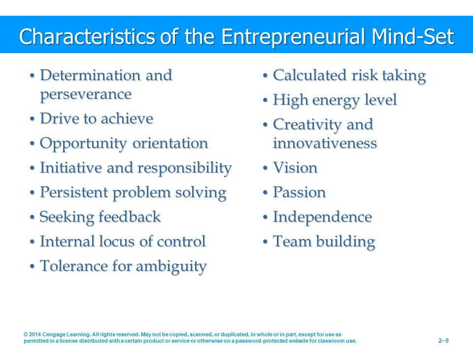 Characteristics of the Entrepreneurial Mind-Set