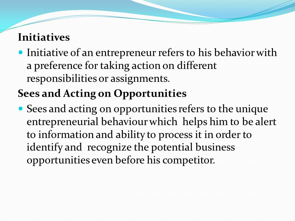 Initiatives Initiative of an entrepreneur refers to his behavior with a preference for taking action on different responsibilities or assignments.