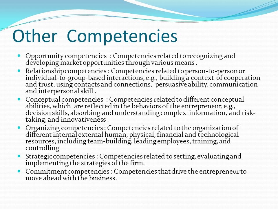 Other Competencies Opportunity competencies : Competencies related to recognizing and developing market opportunities through various means .