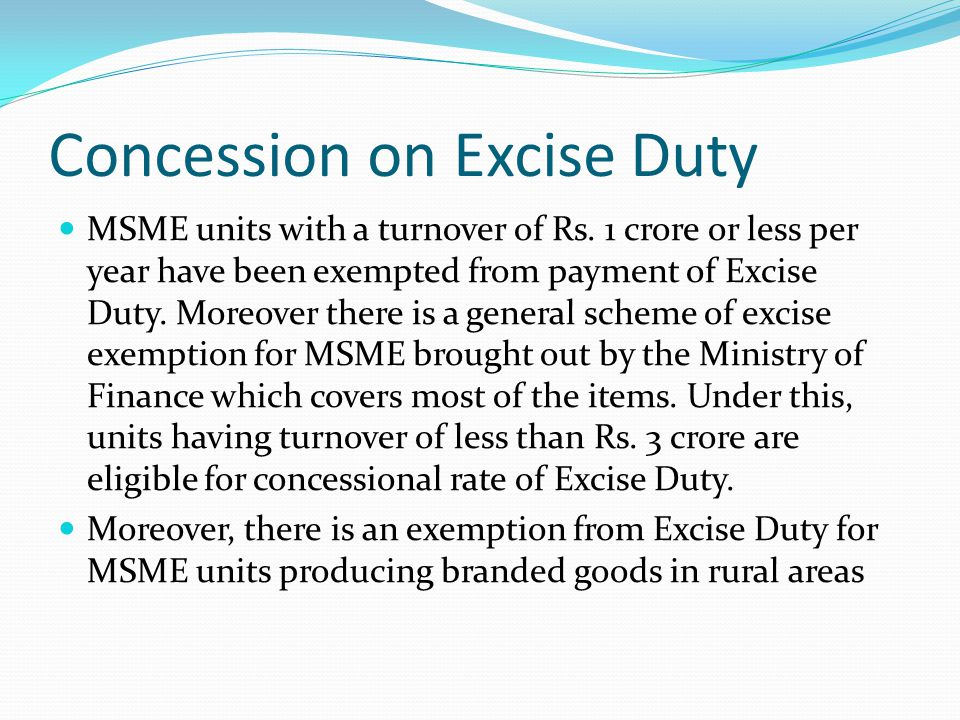 Concession on Excise Duty