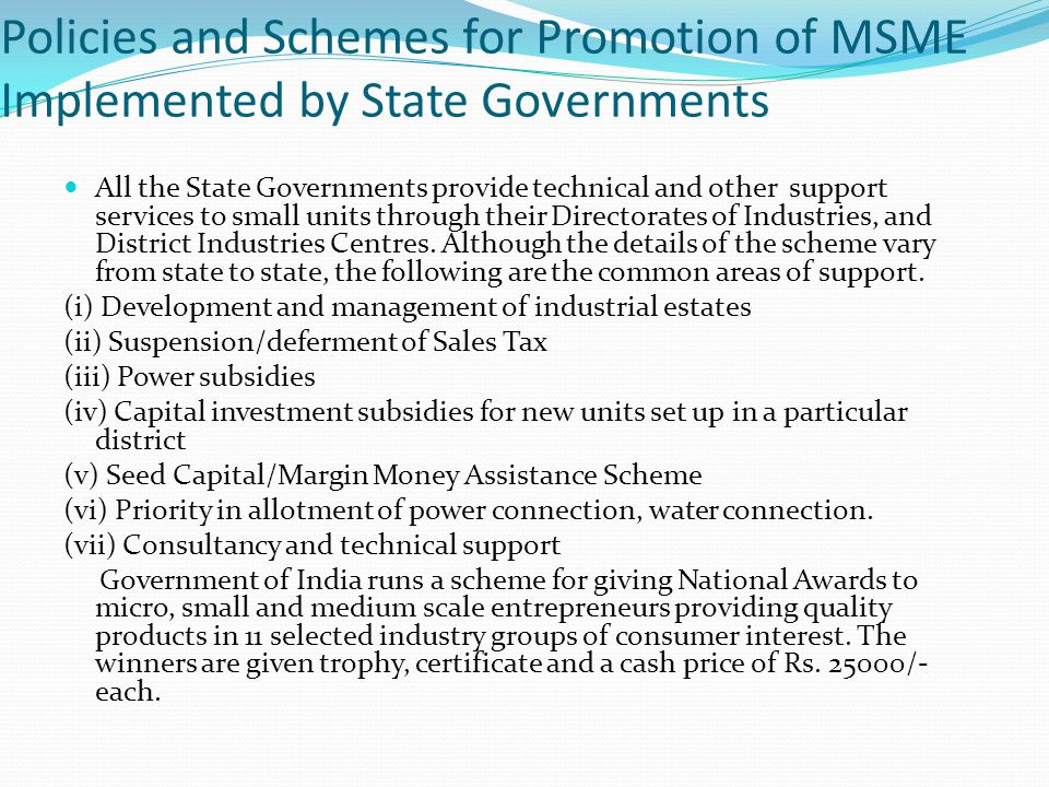 Policies and Schemes for Promotion of MSME Implemented by State Governments
