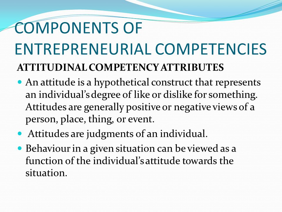 COMPONENTS OF ENTREPRENEURIAL COMPETENCIES
