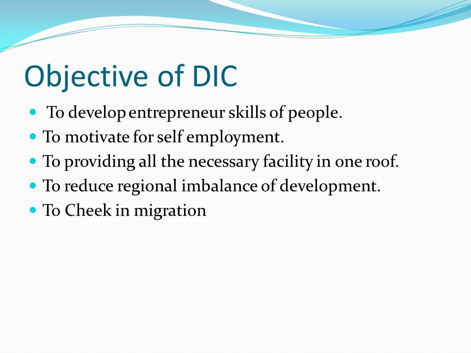 Objective of DIC To develop entrepreneur skills of people.