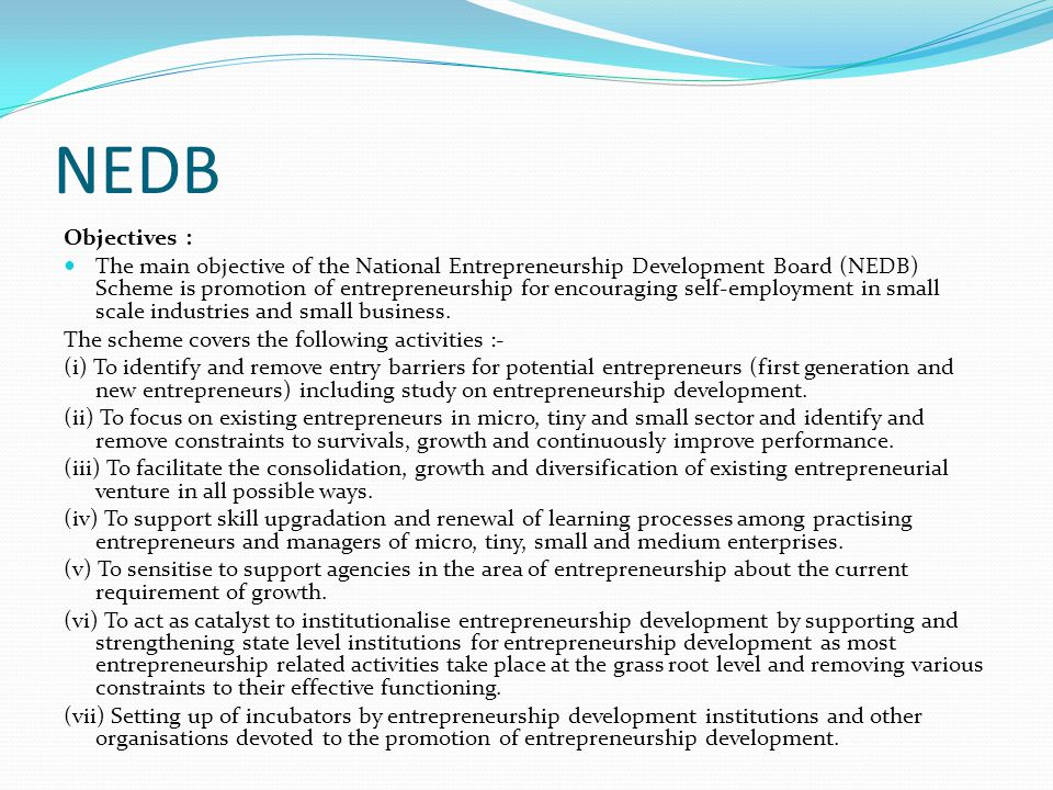 NEDB Objectives :