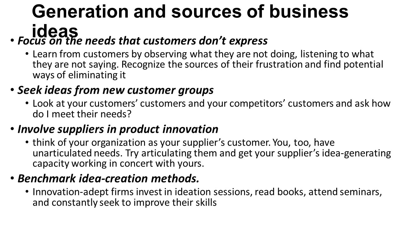 Generation and sources of business ideas