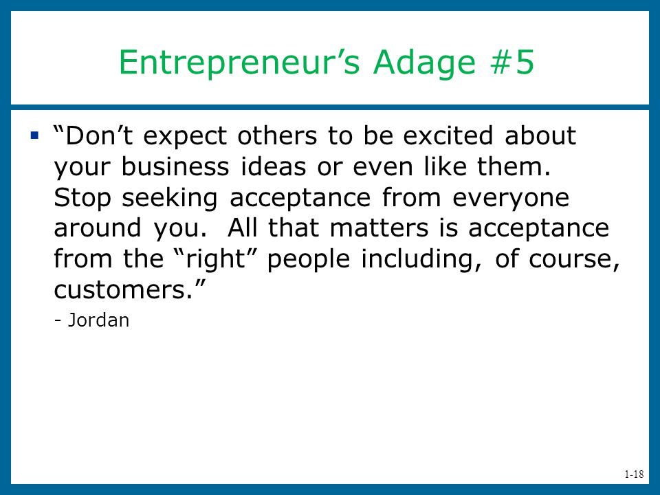 Entrepreneur's Adage #5