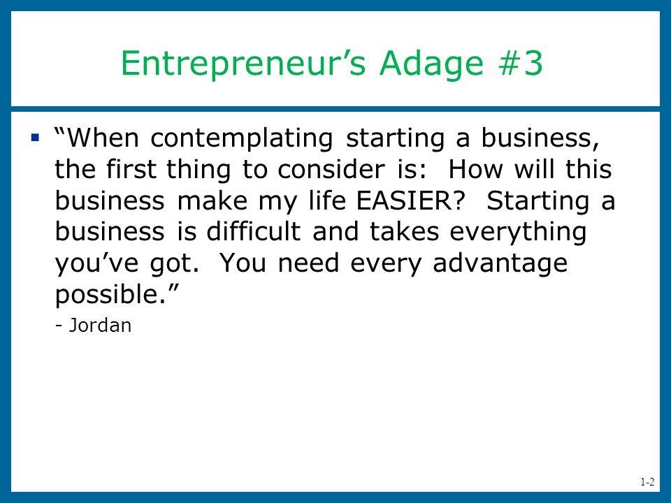 Entrepreneur's Adage #3