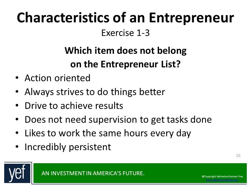 Characteristics of an Entrepreneur Exercise 1-3