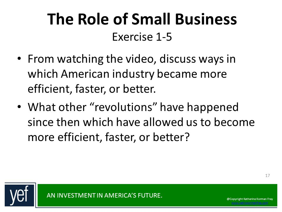 The Role of Small Business Exercise 1-5