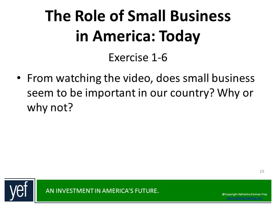 The Role of Small Business in America: Today