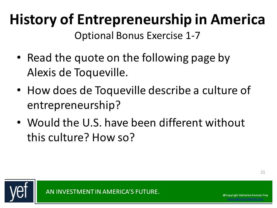 History of Entrepreneurship in America Optional Bonus Exercise 1-7