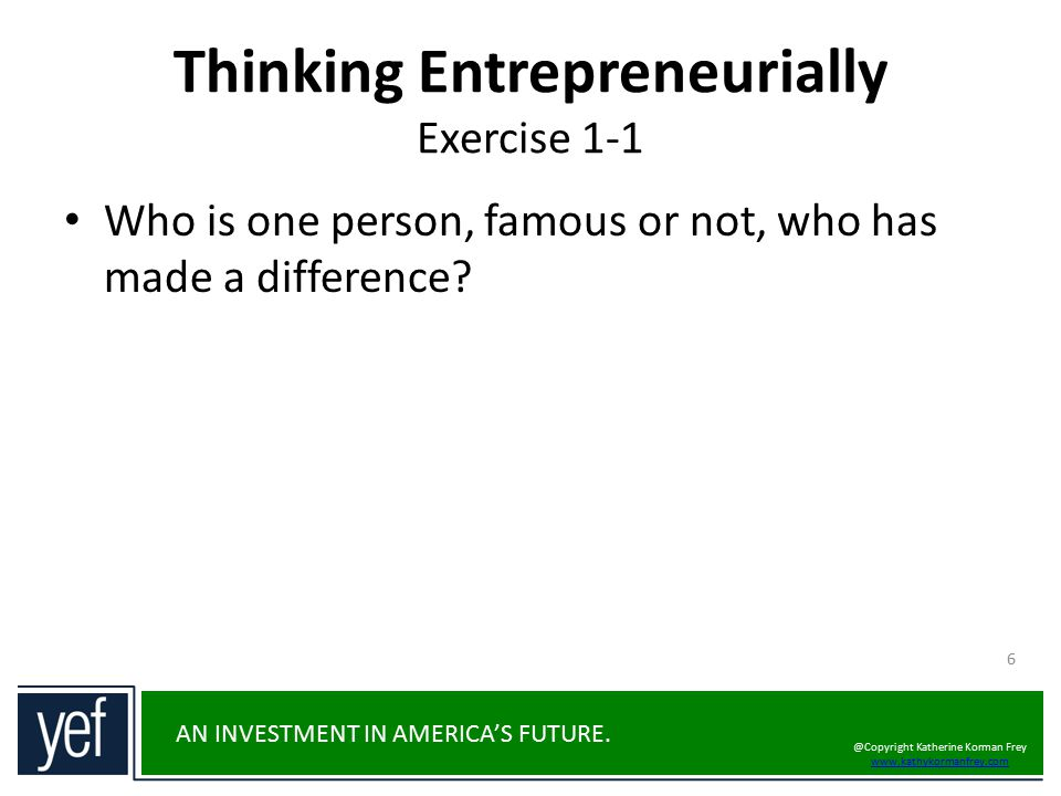 Thinking Entrepreneurially Exercise 1-1