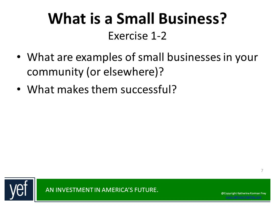 What is a Small Business Exercise 1-2