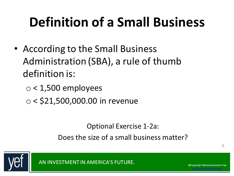 Definition of a Small Business