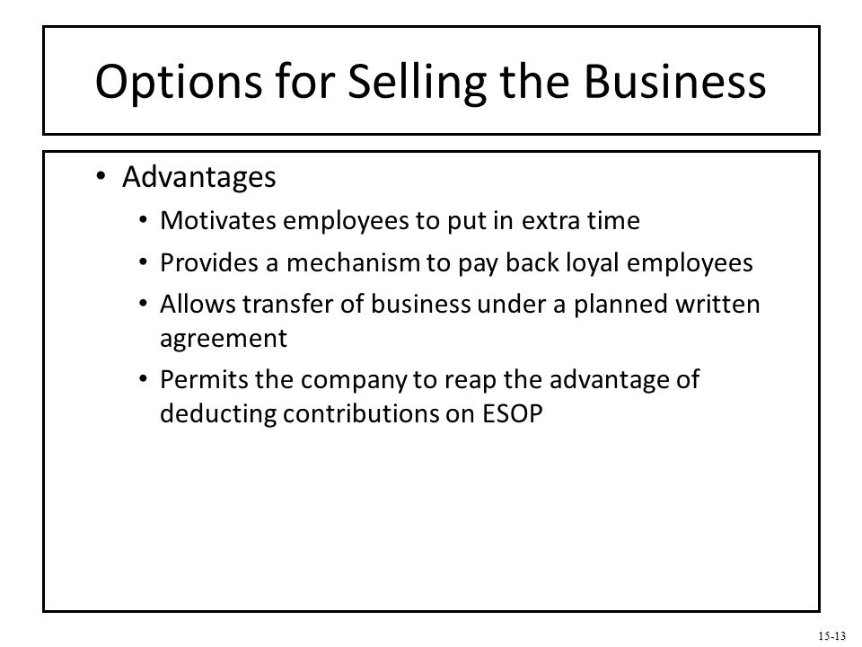 Options for Selling the Business