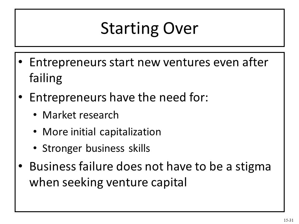 Starting Over Entrepreneurs start new ventures even after failing
