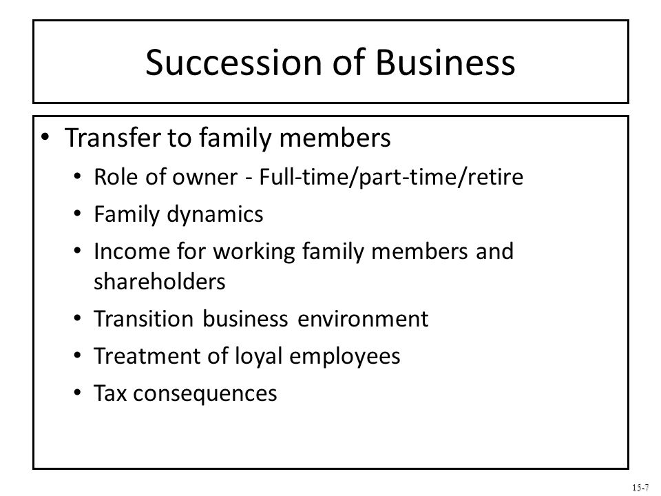 Succession of Business