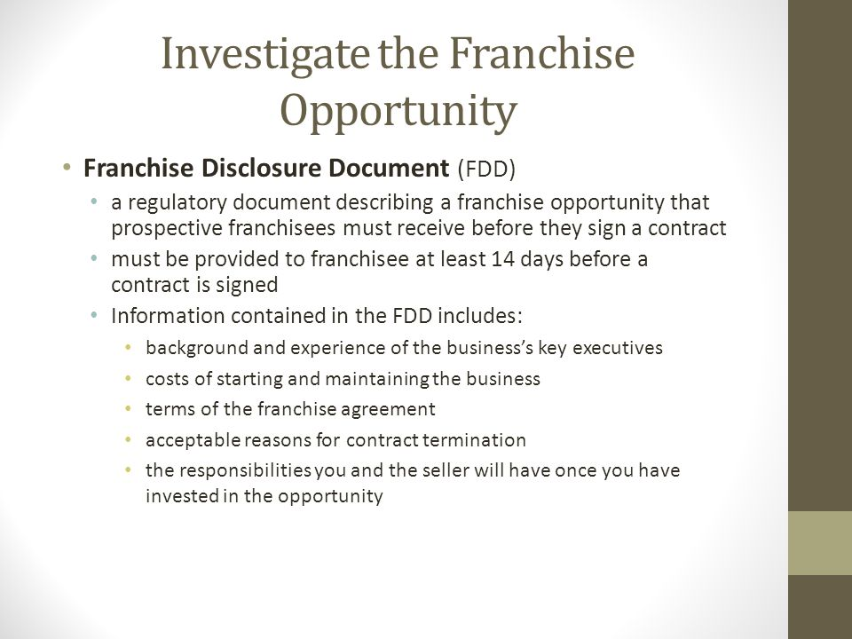 Investigate the Franchise Opportunity