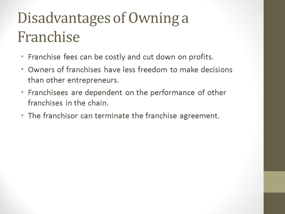 Disadvantages of Owning a Franchise