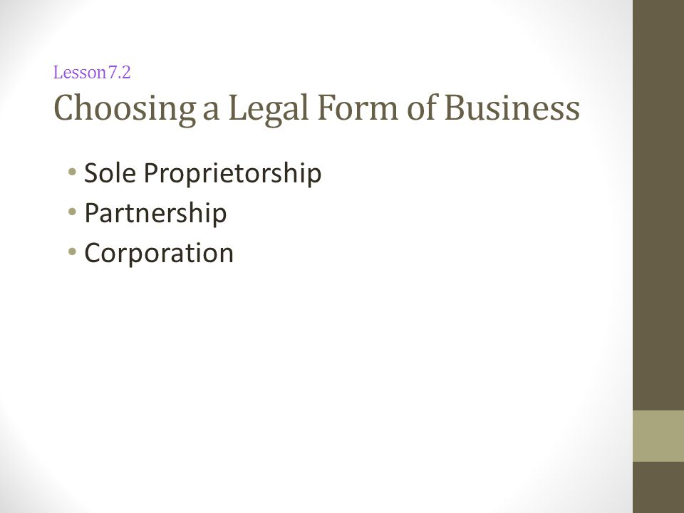 Lesson 7.2 Choosing a Legal Form of Business