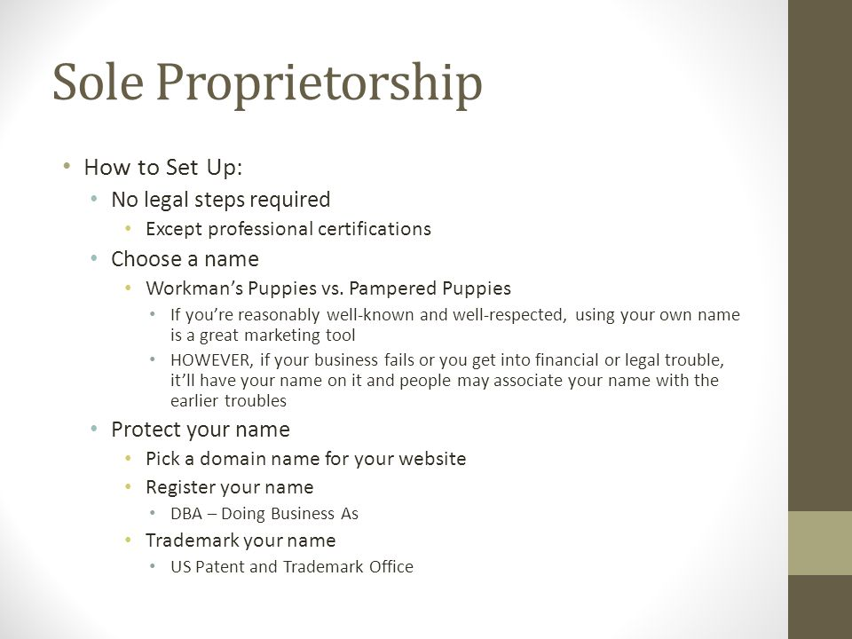 Sole Proprietorship How to Set Up: No legal steps required