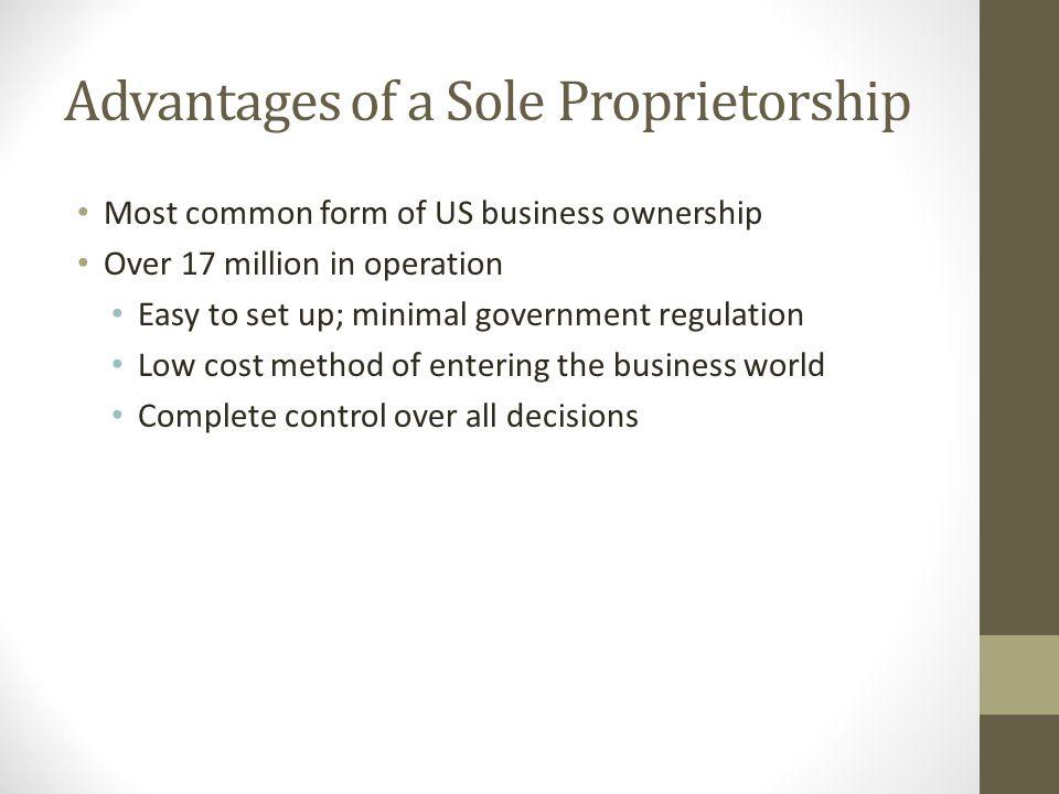 Advantages of a Sole Proprietorship