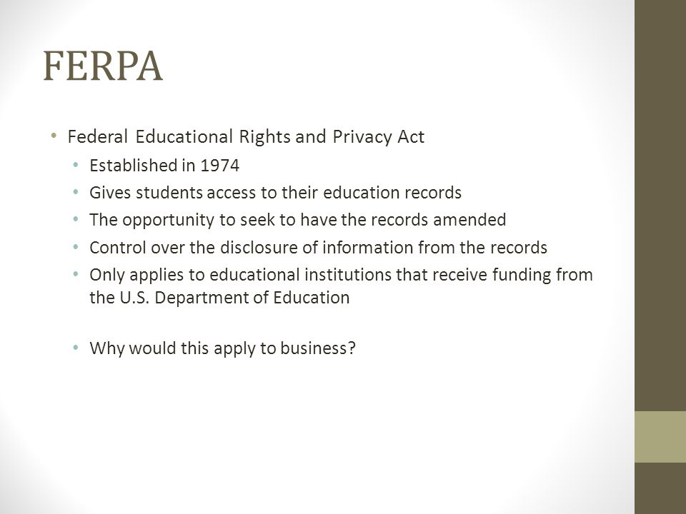 FERPA Federal Educational Rights and Privacy Act Established in 1974