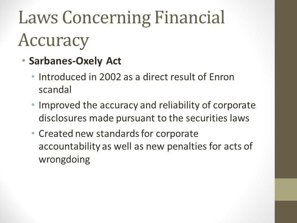 Laws Concerning Financial Accuracy
