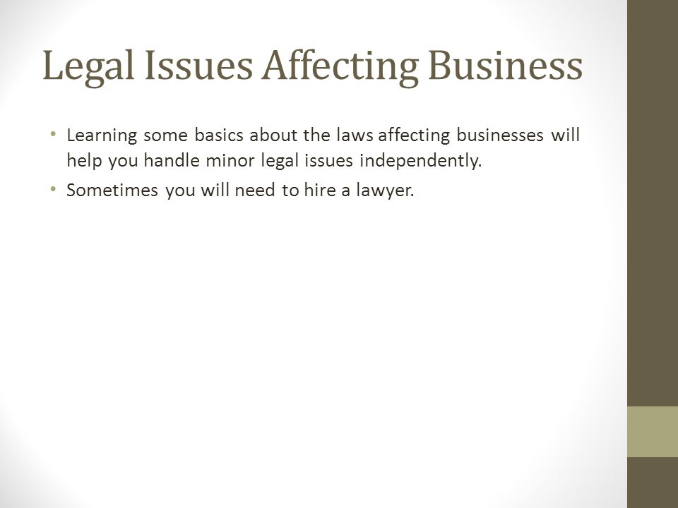 Legal Issues Affecting Business
