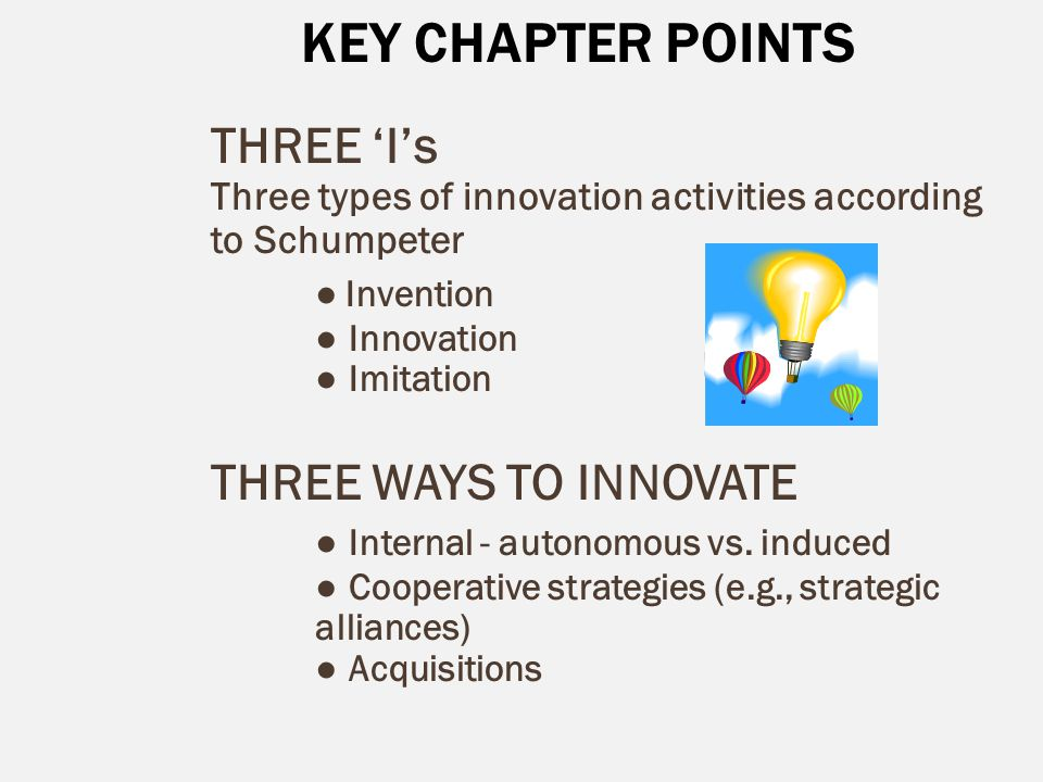 KEY CHAPTER POINTS THREE 'I's ● Invention THREE WAYS TO INNOVATE