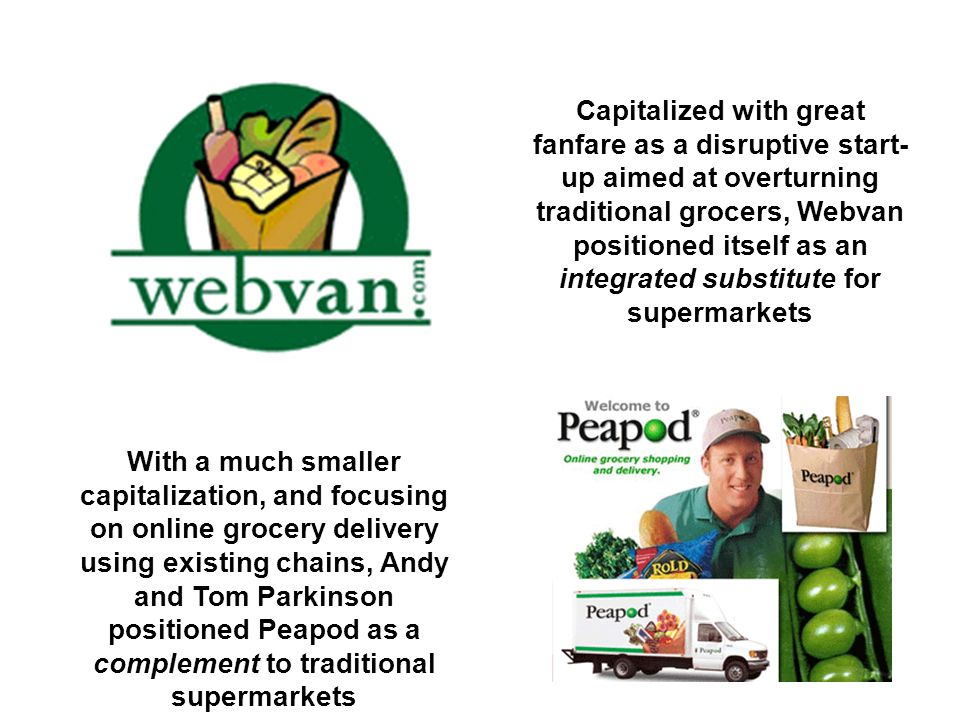 Capitalized with great fanfare as a disruptive start-up aimed at overturning traditional grocers, Webvan positioned itself as an integrated substitute for supermarkets