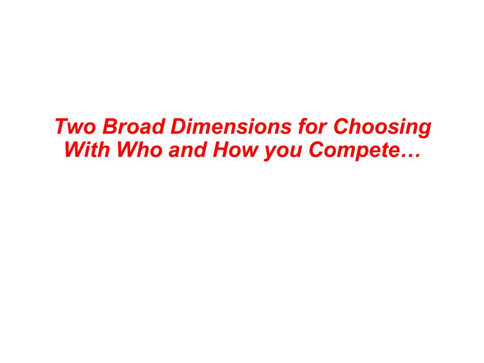 Two Broad Dimensions for Choosing With Who and How you Compete…