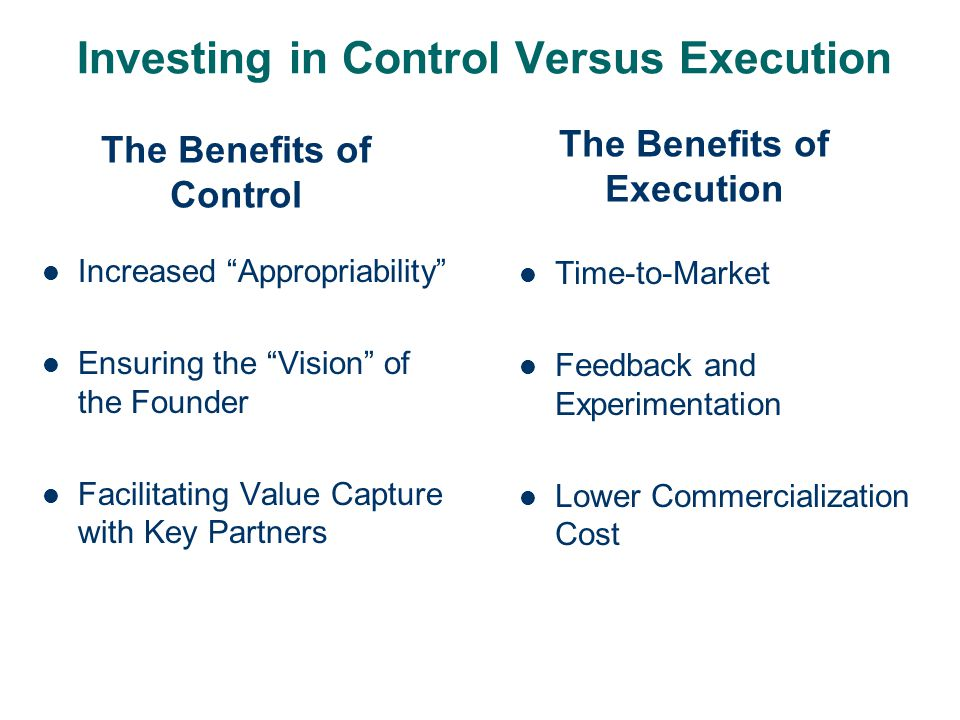 Investing in Control Versus Execution