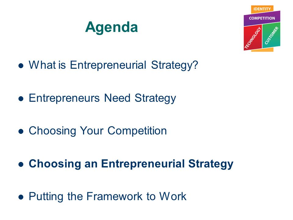 Agenda What is Entrepreneurial Strategy Entrepreneurs Need Strategy