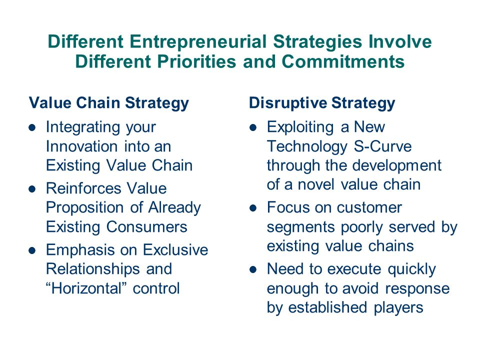 Different Entrepreneurial Strategies Involve Different Priorities and Commitments