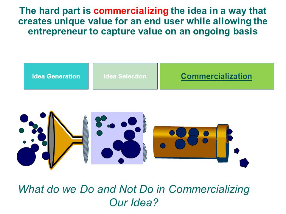 What do we Do and Not Do in Commercializing Our Idea