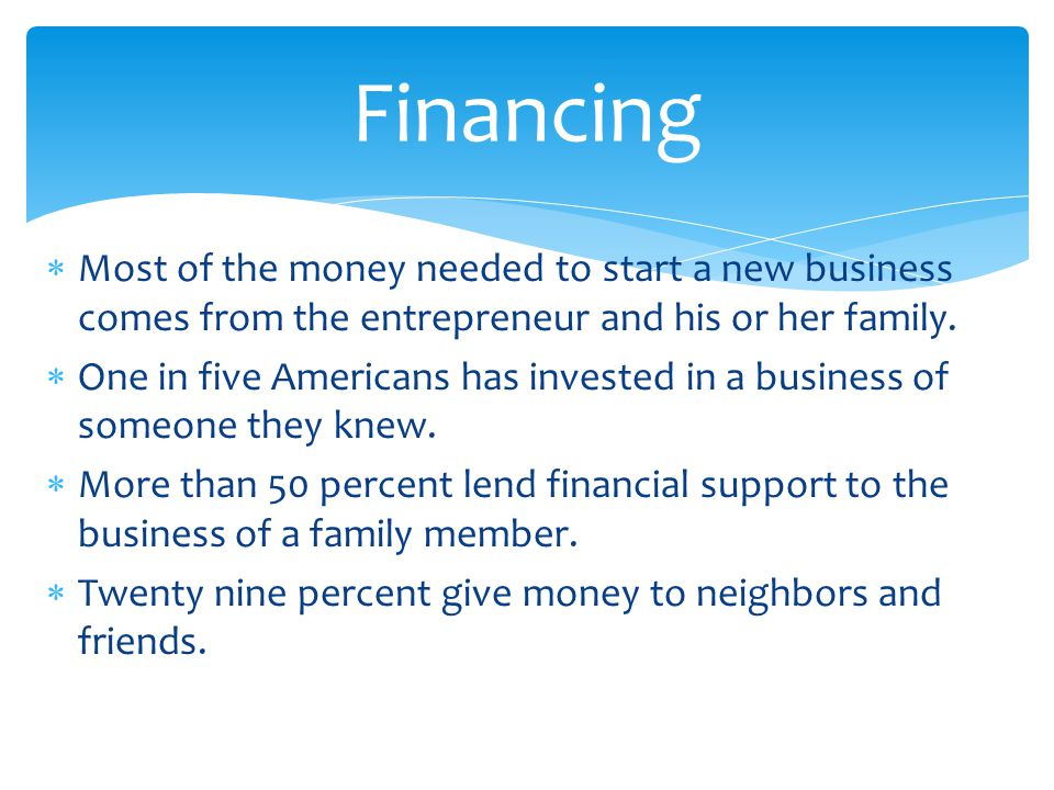 Financing Most of the money needed to start a new business comes from the entrepreneur and his or her family.