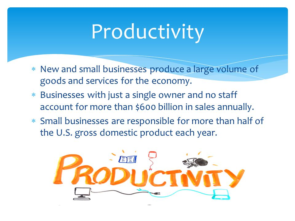 Productivity New and small businesses produce a large volume of goods and services for the economy.