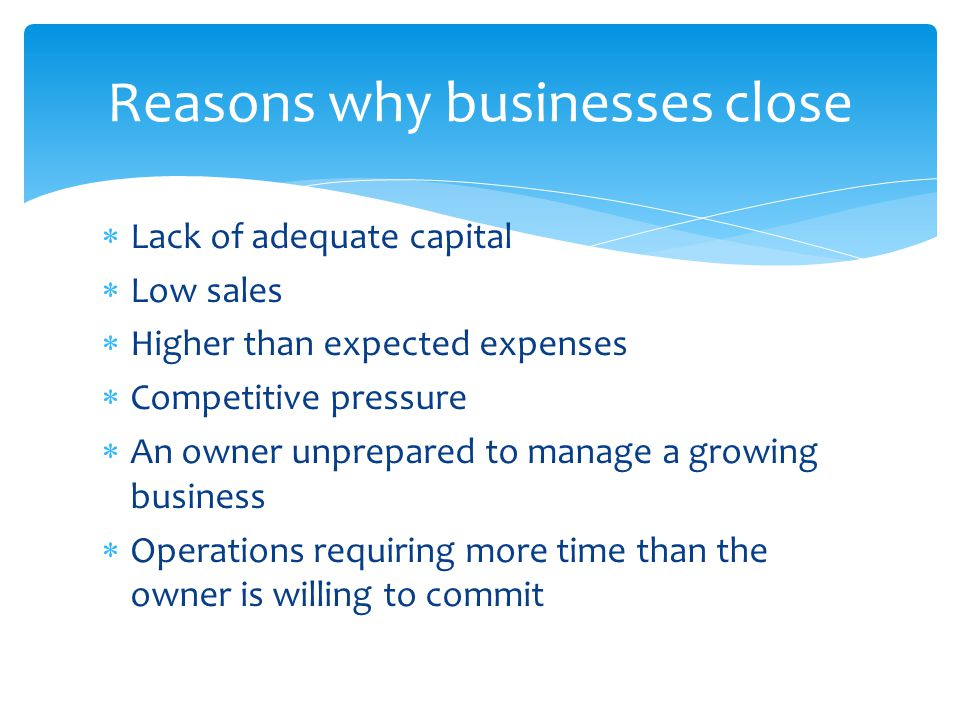 Reasons why businesses close