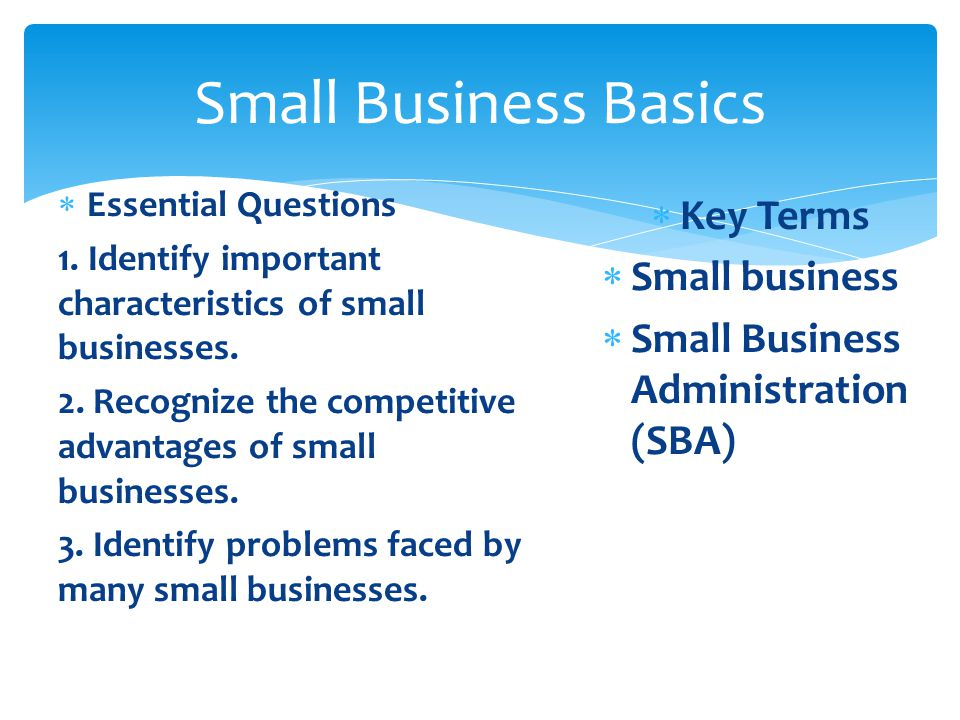 Small Business Basics Key Terms Small business