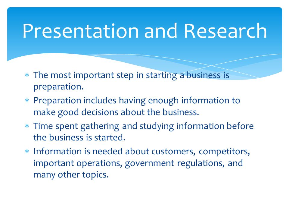 Presentation and Research