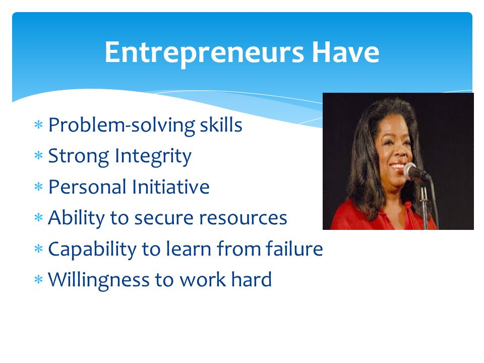 Entrepreneurs Have Problem-solving skills Strong Integrity