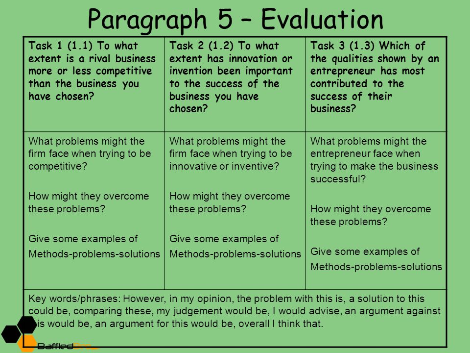 Paragraph 5 – Evaluation